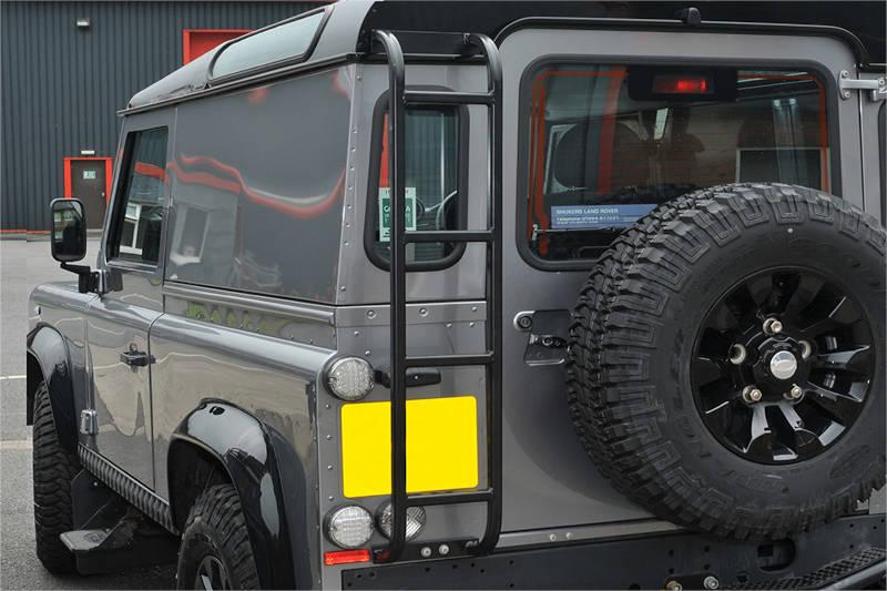 Safari Engineering Land Rover Specialist Hampshire Black Safety Devices Roof Access Ladder to fit Defender 90 & Defender 110 – Britpart DA3073B